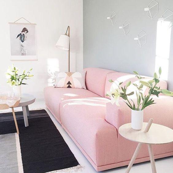Sofá rosa Moderno em Sala com Parede Cinza