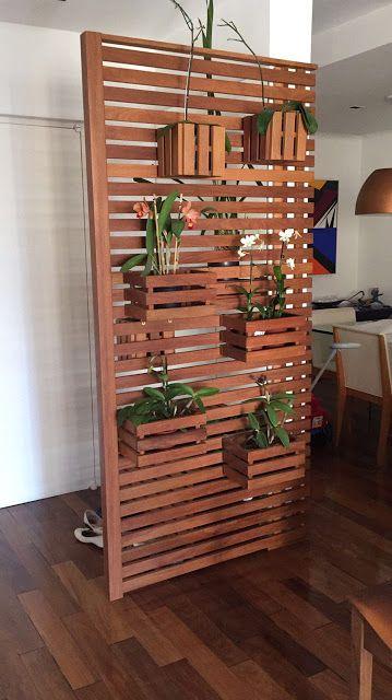 painel vazado ripado com plantas