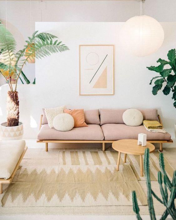 Sofá Rosa Moderno em Sala com Plantas