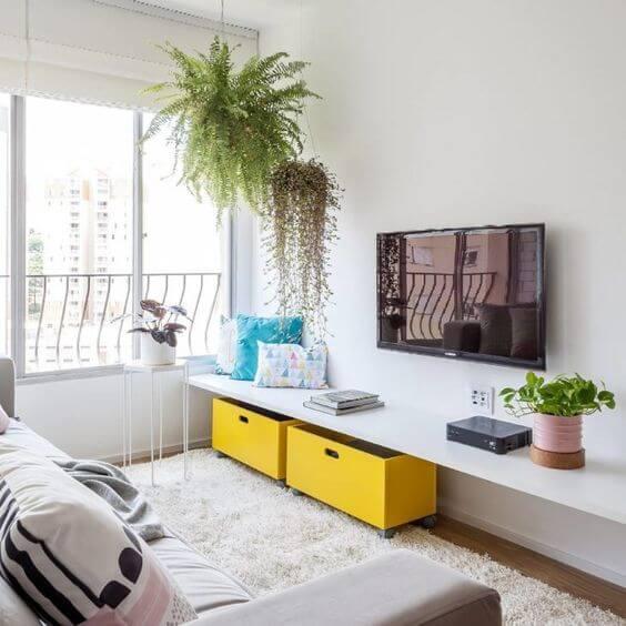 decoração amarela para sala