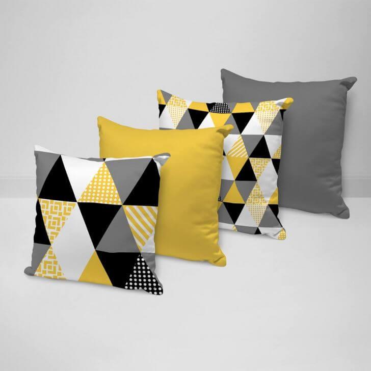 kit almofadas como usar amarelo na decoração
