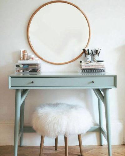 penteadeira para quarto com espelho redondo