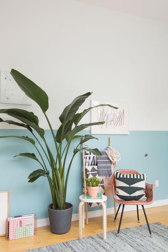 Canto da casa com poltrona, planta e metade da parede pintada de azul - Pinturas de Paredes Diferentes