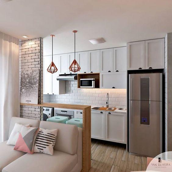 Cozinha Americana Pequena em apartamento feminino