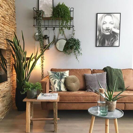 Decoração com Plantas - Sala com vasos de plantas, sobre a mesa e pendurada na parede.