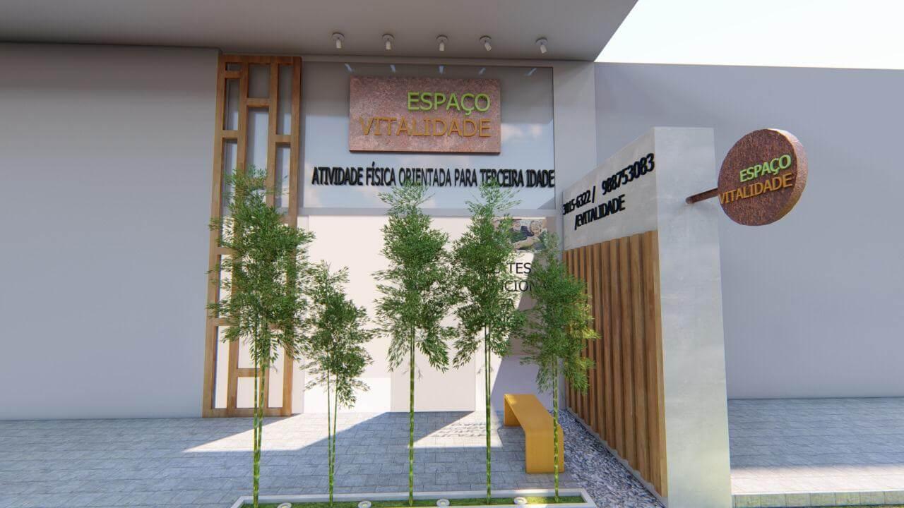 Decoração com Plantas - Fachada de espaço com plantas na frente