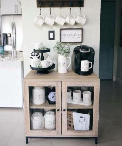 aparador com decoração de cantinho do café
