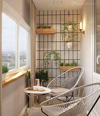 Decoração de varanda com horta e duas cadeiras Acapulco.