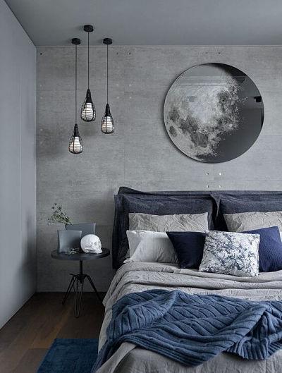 Decoração de quarto com parede cinza e azul - Cors que combinam com cinza