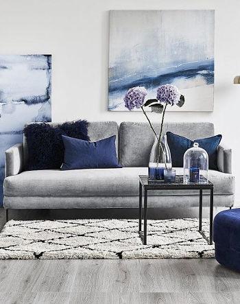 Sala cinza e azul - Cores que combinam com cinza
