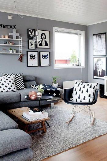 Sala com decoração cinza e preta