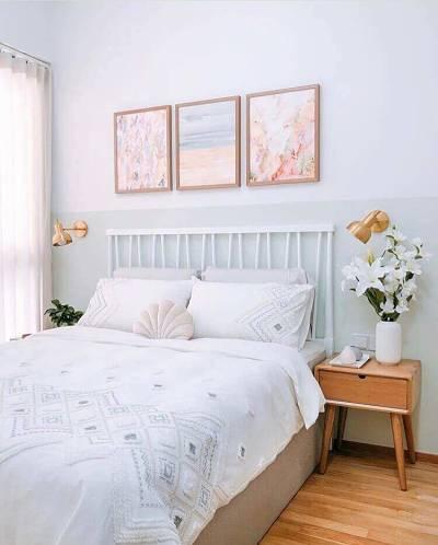 Decoração de quarto de casal simples com pintura de parede criativa com pintura de parede criativa