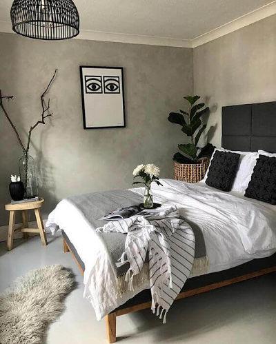 Decoração de quarto de casal simples com armário lateral