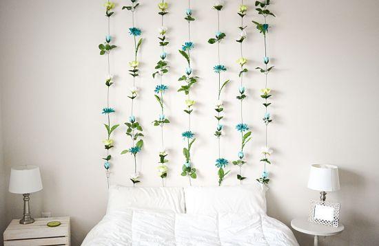 Cabeceira de Cama Criativa com flores
