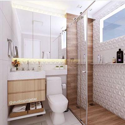 Banheiro Pequeno com revestimento 3d