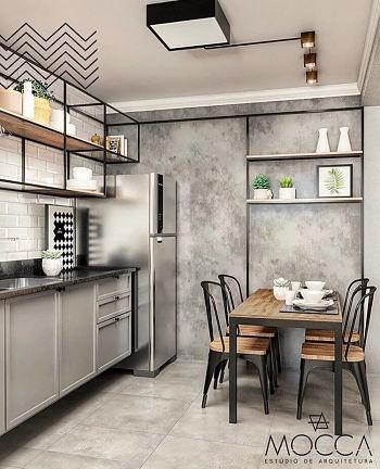 Projeto de cozinha estilo industrial com parede de cimento queimado