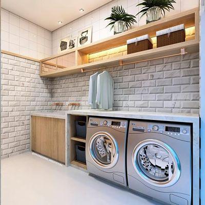 lavanderia planejada com duas máquinas