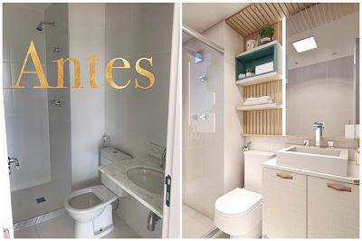antes e depois de banheiro pequeno com tons claros.