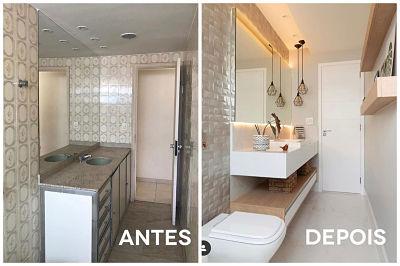 Reforma de banheiro pequeno - antes e depois