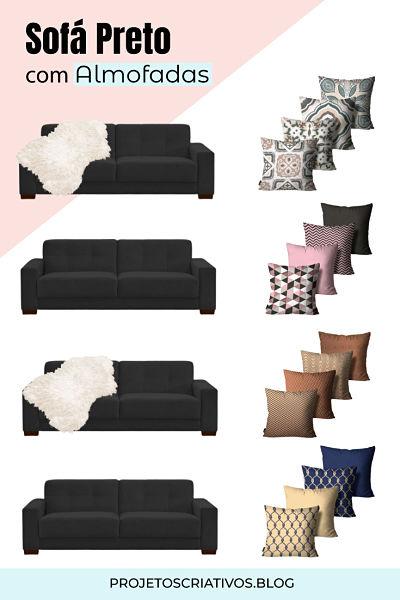 Sofá preto com almofadas: Combinação de almofadas em sofá preto