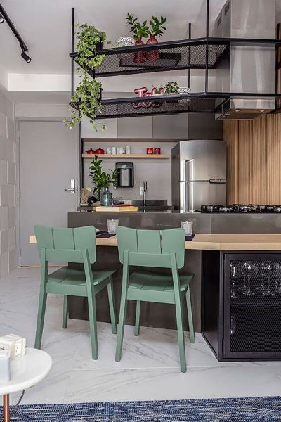 Cozinhas Americana Pequenas estilo industrial