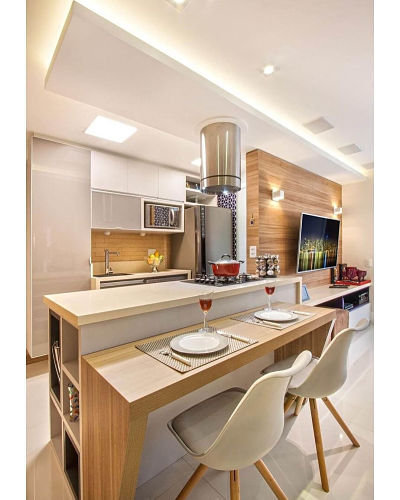 sala com cozinha americana pequena