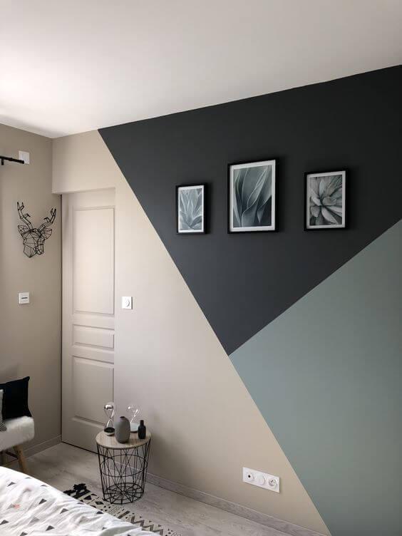Pintura de parede criativa no quarto - Triângulos