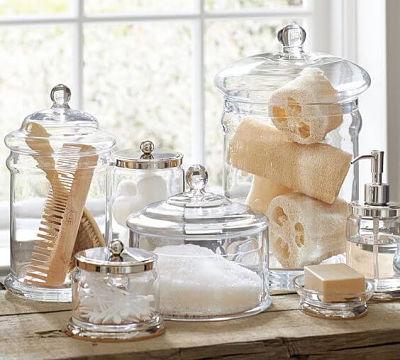 Potes de vidro organizador