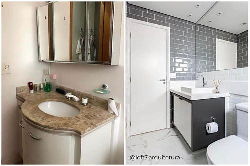 Banheiro com tons de cinza e preto.