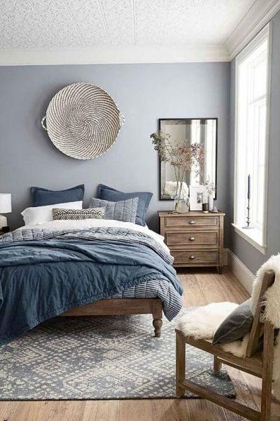 quarto azul claro rústico