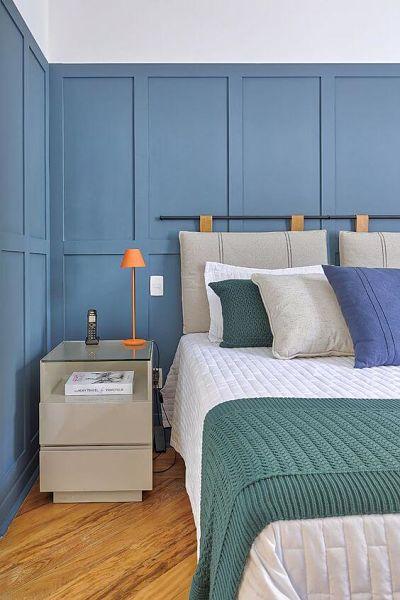 Azul claro na decoração do quarto