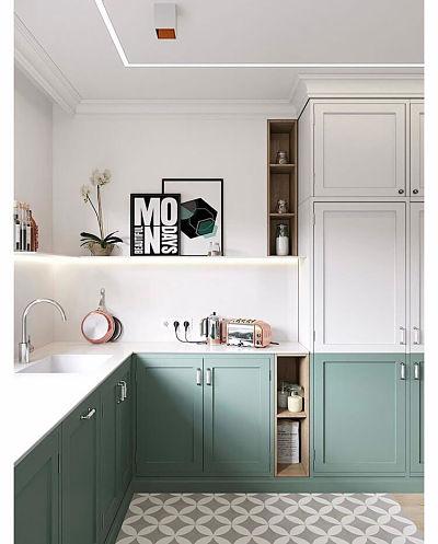 cozinha tom pastel verde e branca