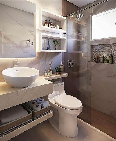 Cubas para banheiro: Banheiro pequeno com Cuba de apoio redonda