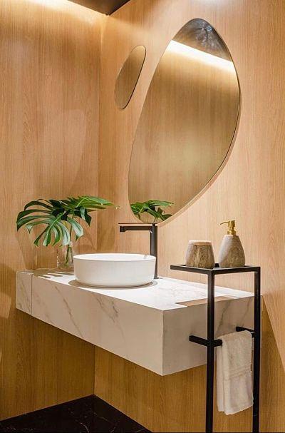 Cuba de banheiro redonda com bancada de mármore e planta costela de adão