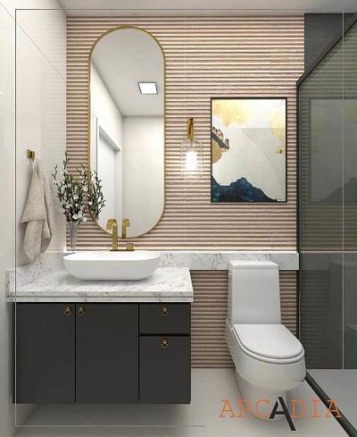 Banheiro pequeno moderno com cuba de apoio