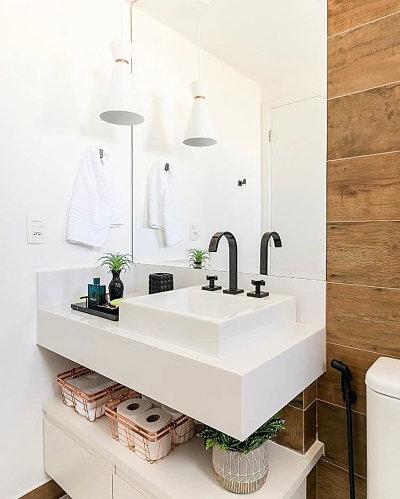 cuba para banheiro quadrada e torneira preta