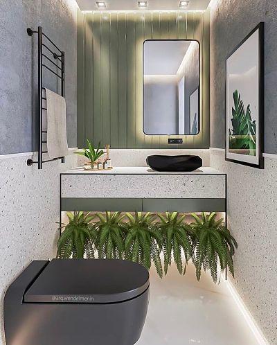 Cuba de apoio para banheiro pequeno preto e revestimento granilite e plantas
