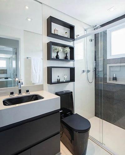 banheiro pequeno decorado preto e branco