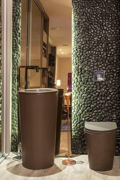 Banheiro com cuba de piso moderna