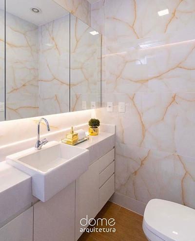 Banheiro com cuba de semi encaixe