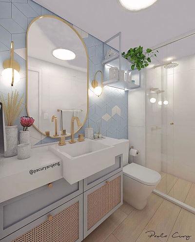 Banheiro moderno azul com cuba de semi encaixe