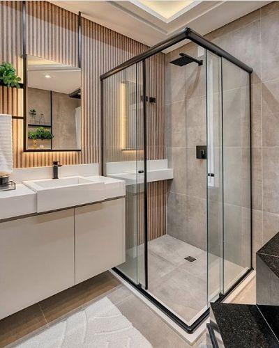 Modelo de Banheiro com cuba de semi encaixe