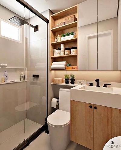 Banheiro pequeno com cuba esculpida