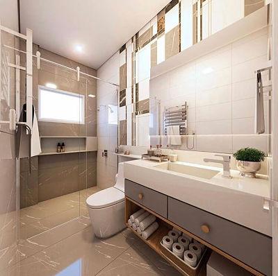 Banheiro com cuba esculpida branca