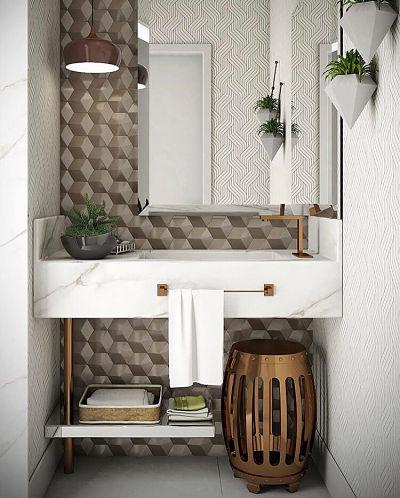 Banheiro com cuba esculpida mármore