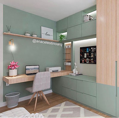 Home office planejado verde com madeira.