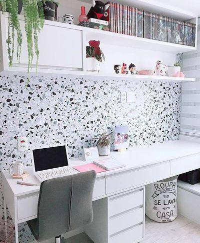 Papel de parede granilite no escritório branco