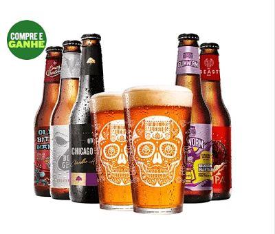 Kit 5 cervejas e dois copos