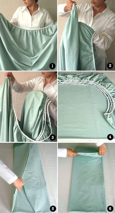 Como dobrar lençol de elástico, passo a passo