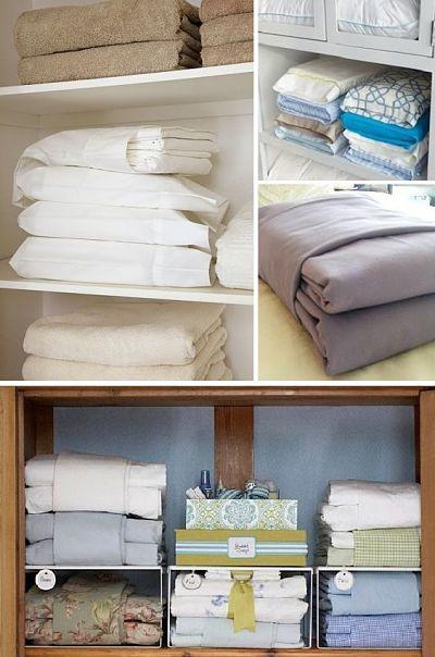Organização de roupas de camas